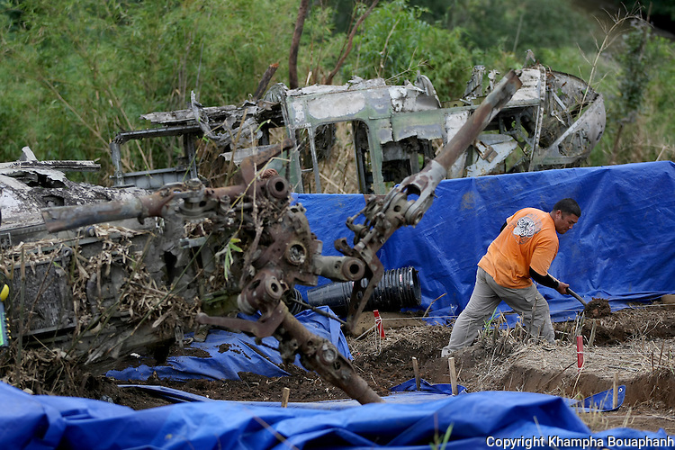 Sgt Darrell Mendiola works at a JPAC dig site, searching for remains of missing American military from the Vietnam war near Ta Oy, Laos on Wednesday, November 7, 2012. (Star-Telegram/Khampha Bouaphanh)