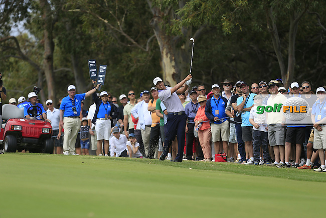 Sihwan Kim (KOR) on the 18th during Round 3 of the ISPS HANDA Perth International at the Lake Karrinyup Country Club on Saturday 25th October 2014.<br /> Picture:  Thos Caffrey / www.golffile.ie