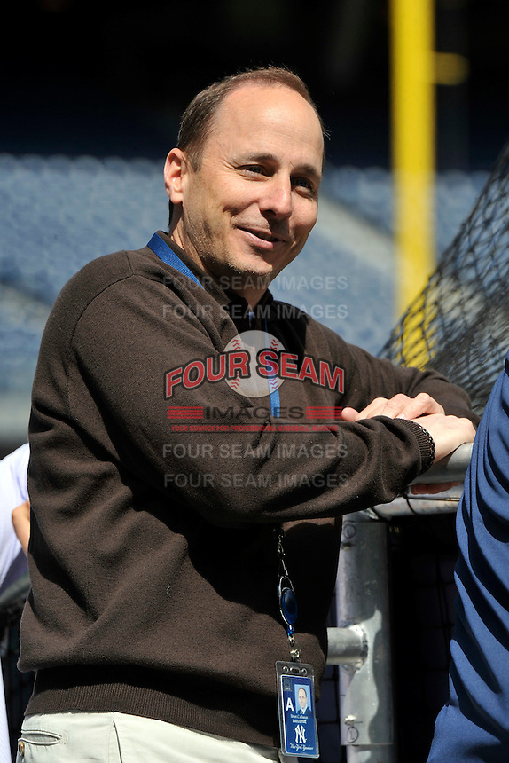 Apr 02, 2011; Bronx, NY, USA; New York Yankees General Manager Brian Cashman before game against the Detroit Tigers at Yankee Stadium. Yankees defeated the Tigers 10-6. Mandatory Credit: Tomasso De Rosa