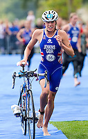 12 SEP 2010 - BUDAPEST, HUN - Helen Jenkins leaves transition during the 2010 Elite Womens ITU World Championship Series Triathlon final (PHOTO (C) NIGEL FARROW)