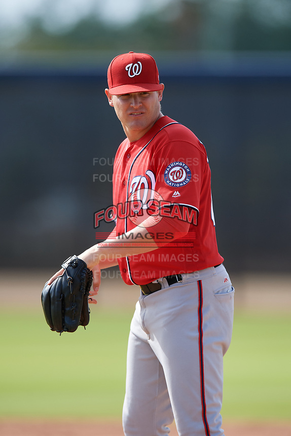 Washington Nationals pitcher Matthew DeRosier (69) doing pitching drills before a Minor League Spring Training game against the Miami Marlins on March 28, 2018 at FITTEAM Ballpark of the Palm Beaches in West Palm Beach, Florida.  (Mike Janes/Four Seam Images)