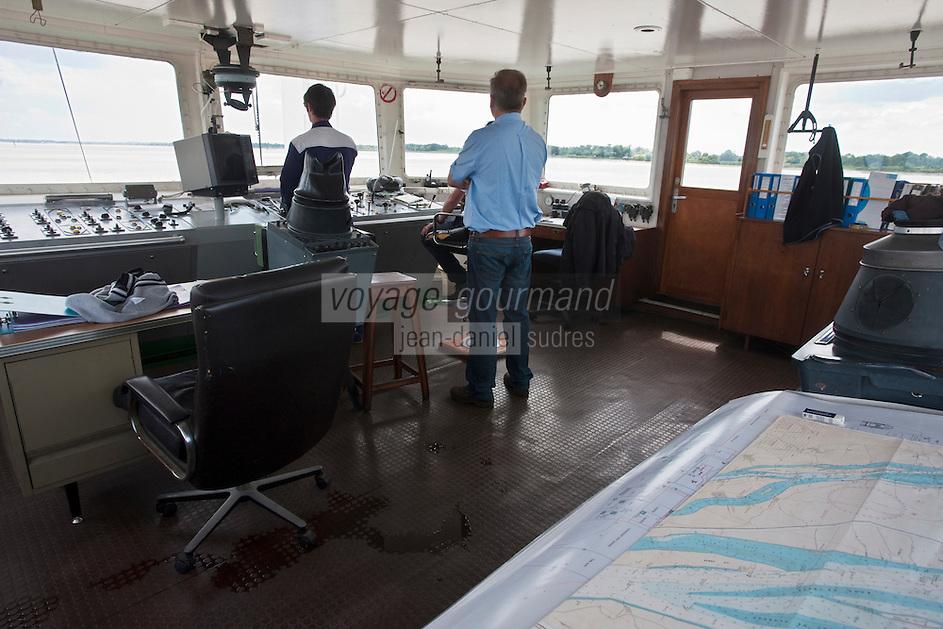 Europe/France/Aquitaine/33/Gironde/Blaye: Sur le bac Blaye - Lamarque -le poste de  pilotage