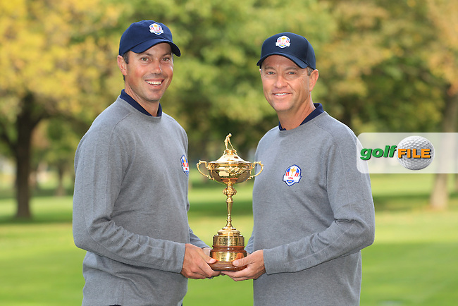 Matt Kucher and David Love III at The USA Team Picture for the Ryder Cup 2012, Medinah Country Club,Medinah, Illinois,USA.Picture: Fran Caffrey/www.Golffile.ie.