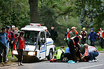 Ryan Shay receives CPR and medical attention after collapsing on the course while competing in the 2008 Men's Olympic Trials Marathon in Central Park on November 3, 2007 in New York, New York.  It was later confirmed that Shay had died, but the cause of death is still unknown.