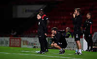 Lincoln City manager Danny Cowley, centre, and Lincoln City's assistant manager Nicky Cowley<br /> <br /> Photographer Chris Vaughan/CameraSport<br /> <br /> EFL Leasing.com Trophy - Northern Section - Group H - Doncaster Rovers v Lincoln City - Tuesday 3rd September 2019 - Keepmoat Stadium - Doncaster<br />  <br /> World Copyright © 2018 CameraSport. All rights reserved. 43 Linden Ave. Countesthorpe. Leicester. England. LE8 5PG - Tel: +44 (0) 116 277 4147 - admin@camerasport.com - www.camerasport.com