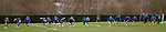 The entire Rangers squad lined up in a sprint off. One guy goes away the wrong way mistaking his left for his right