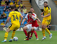 Fleetwood Town's Jason Holt chases down Oxford United's Josh Ruffels<br /> <br /> Photographer David Shipman/CameraSport<br /> <br /> The EFL Sky Bet League One - Oxford United v Fleetwood Town - Saturday August 11th 2018 - Kassam Stadium - Oxford<br /> <br /> World Copyright &copy; 2018 CameraSport. All rights reserved. 43 Linden Ave. Countesthorpe. Leicester. England. LE8 5PG - Tel: +44 (0) 116 277 4147 - admin@camerasport.com - www.camerasport.com