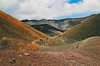 Hiking trails in the backcountry wilderness of the crater in HALEAKALA NATIONAL PARK on Maui in Hawaii