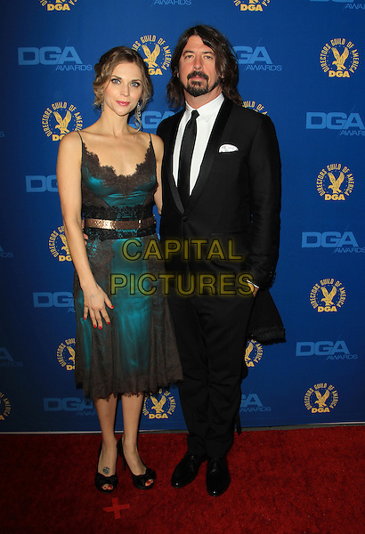 Jordyn Blum Grohl, Dave Grohl.65th Annual Directors Guild Of America Awards - Arrivals - Press Room Held At The Ray Dolby Ballroom at Hollywood & Highland Center, Hollywood, California, USA..February 2nd, 2013.full length black dress lace suit green beard facial hair married husband wife.CAP/ADM/KB.©Kevan Brooks/AdMedia/Capital Pictures.