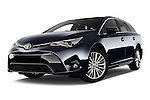 Stock pictures of low aggressive front three quarter view of 2015 Toyota Avensis Business Executive 5 Door Wagon Low Aggressive