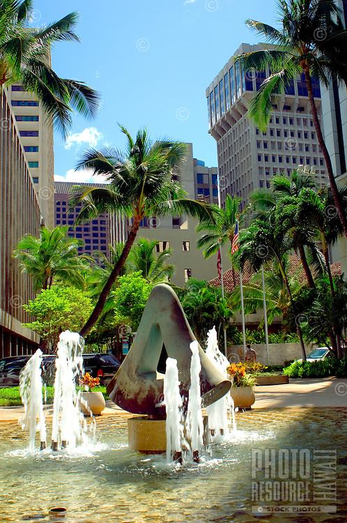 Fort Street Mall Fountain, Downtown Honolulu, Hawaii