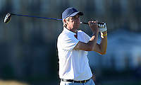 Alan Hansen tees off during Round 1 of the 2015 Alfred Dunhill Links Championship at the Old Course, St Andrews, in Fife, Scotland on 1/10/15.<br /> Picture: Richard Martin-Roberts | Golffile