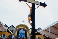 Crosses and crucifixes are visible in St. Peter's Square during St. Peter's Fiesta in Gloucester, Massachusetts, USA.