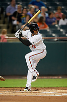 Bowie Baysox second baseman Sharlon Schoop (12) at bat during the second game of a doubleheader against the Trenton Thunder on June 13, 2018 at Prince George's Stadium in Bowie, Maryland.  Bowie defeated Trenton 10-1.  (Mike Janes/Four Seam Images)