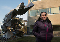 Nursing Major Rachel Dunbar is pictured in front of the ConocoPhillips Integrated Science Building.