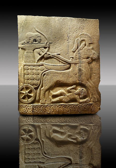 Picture & image of a Neo-Hittite orthostat with a chariot Releif sculpture from Karkamis,, Turkey.  The Cahiot is pulled by horses with plumed headresses. One man os about to shoot an arrow from his bow, the other man is driving the cahriot. Below the horse is a man dying. An Ankara Museum of Anatolian Civilizations exhibit.