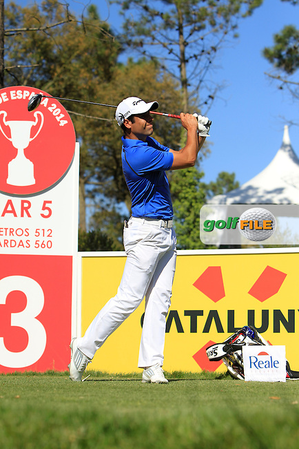 Adrian Otaegui (ESP) on the 3rd tee during Thursday's Round 1 of The Open De Espana at The PGA Catalunya Resort. 15th May 2014.<br /> Picture:  Thos Caffrey / www.golffile.ie