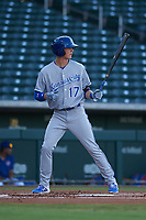 AZL Royals Bobby Witt, Jr. (17) makes his professional debut batting in the top of the first inning during an Arizona League game against the AZL Cubs 1 on June 30, 2019 at Sloan Park in Mesa, Arizona. AZL Royals defeated the AZL Cubs 1 9-5. (Zachary Lucy / Four Seam Images)