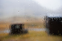 View of rainy window at Sälka hut, Kungsleden trail, Lapland, Sweden