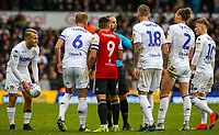 Referee Jeremy Simpson is surrounded by players<br /> <br /> Photographer Alex Dodd/CameraSport<br /> <br /> The EFL Sky Bet Championship - Leeds United v Brentford - Saturday 6th October 2018 - Elland Road - Leeds<br /> <br /> World Copyright &copy; 2018 CameraSport. All rights reserved. 43 Linden Ave. Countesthorpe. Leicester. England. LE8 5PG - Tel: +44 (0) 116 277 4147 - admin@camerasport.com - www.camerasport.com