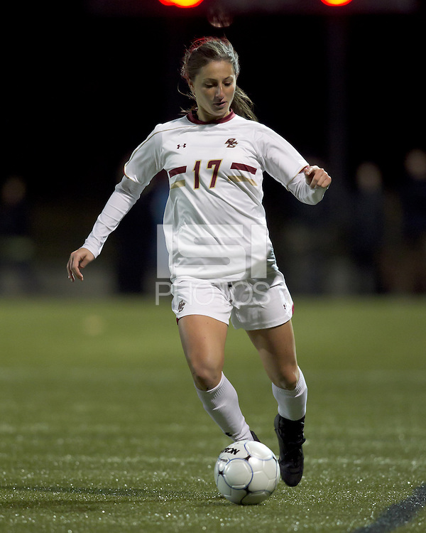 "Boston College forward Alaina Beyar (17) passes the ball. Boston College defeated West Virginia, 4-0, in NCAA tournament ""Sweet 16"" match at Newton Soccer Field, Newton, MA."
