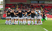30th September 2017, Welford Road, Leicester, England; Aviva Premiership rugby, Leicester Tigers versus Exeter Chiefs;  The Exeter team huddle before kick-off