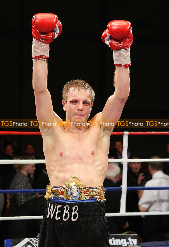 Sam Webb (black shorts) defeats Anthony Small in a boxing contest for the British Light-Middleweight title at Goresbrook Leisure Centre, Dagenham promoted by Ricky Hatton -  26/03/10 - MANDATORY CREDIT: Gavin Ellis/TGSPHOTO - Self billing applies where appropriate - Tel: 0845 094 6026