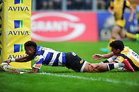 Anthony Watson of Bath Rugby reaches for the try-line. Aviva Premiership match, between Bath Rugby and Worcester Warriors on September 17, 2016 at the Recreation Ground in Bath, England. Photo by: Patrick Khachfe / Onside Images