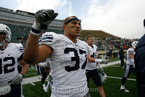 Trent Nelson  |  The Salt Lake Tribune.BYU defensive lineman Vic So'oto (37) celebrates the win. BYU vs. Colorado State, college football, Saturday, November 13, 2010. BYU won 49-10.