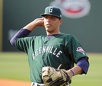 April 2, 2008: Catcher Luis Esposito (23) of the Greenville Drive, Class A affiliate of the Boston Red Sox, during Media Day at Fluor Field at the West End in Greenville, S.C. Photo by:  Tom Priddy/Four Seam Images