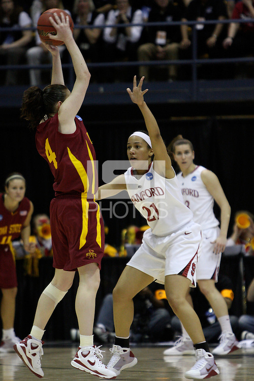 BERKELEY, CA - MARCH 30: Ros Gold-Onwude plays tight defense during Stanford's 74-53 win against the Iowa State Cyclones on March 30, 2009 at Haas Pavilion in Berkeley, California.