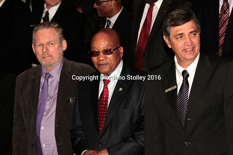 DURBAN - 24 May 2016 - South African Trade and Industry Minister Rob Davies, President Jacob Zuma and Johan van Zyl, chairman of Toyota in South Africa, at the official launch by Toyota of its new Hilux and Fortuner ranges at its plant in Durban, Picture: Allied Picture Press (APP)