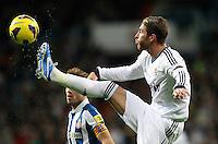 ATENCAO EDITOR IMAGEM EMBARGADA PARA VEICULOS INTERNACIONAIS - MADRI, ESPANHA, 16 DEZEMBRO 2012 - CAMP. ESPANHOL - REAL MADRID - ESPANYOL - Sergio Ramos jogador do Real Madrid durante partida contra o Espanyol pela 16 rodada do Campeonato Espanhol, no Estadio Santiago Bernabeu em Madri, capital da Espanha. A partida terminou 2 a 2. (FOTO: CESAR CEBOLLA / ALFAQUI / BRAZIL PHOTO PRESS).