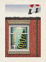 Legs of Santa Claus walking on snowcapped house roof