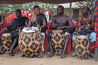 Africa,Ghana,Kumasi, drums played at Ashanti funeral