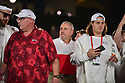 MIAMI, FL - JANUARY 27: Kansas City Chiefs Head Coach Andy Reid and Kansas City Chiefs Center Austin Reiter (#62)answers questions from the media during the NFL Super Bowl ( LIV)(54) Opening Night at Marlins Park on January 27, 2020  in Miami, Florida. ( Photo by Johnny Louis / jlnphotography.com )