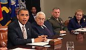 United States President Barack Obama makes a statement during a meeting with present administration officials and former Secretaries of State and Defense in the Roosevelt Room of the White House on Thursday, November 18, 2010.   From left to right: President Obama; Henry Kissinger, former US Secretary of State; General James Cartwright, Vice Chairman Joint Chiefs of Staff; and Madeleine  Albright, former Secretary of State. .Credit: Dennis Brack / Pool via CNP