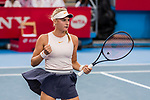 Dayana Yastremska of Ukraine reacts during the singles final match against Wang Qiang of China at the WTA Prudential Hong Kong Tennis Open 2018 at the Victoria Park Tennis Stadium on 14 October 2018 in Hong Kong, Hong Kong.
