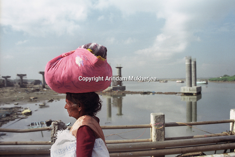 A homeless lady migrating to a shelter in Nagapattinam.India.