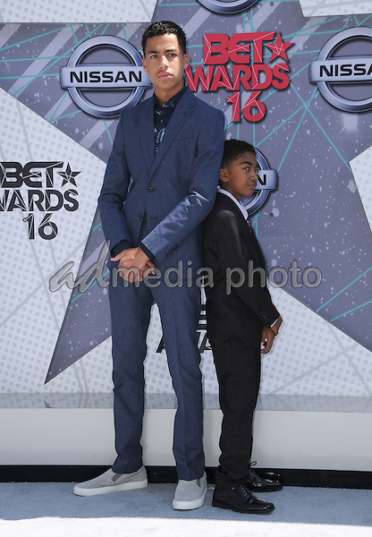 26 June 2016 - Los Angeles. Marcus Scribner, Miles Brown. Arrivals for the 2016 BET Awards held at the Microsoft Theater. Photo Credit: Birdie Thompson/AdMedia
