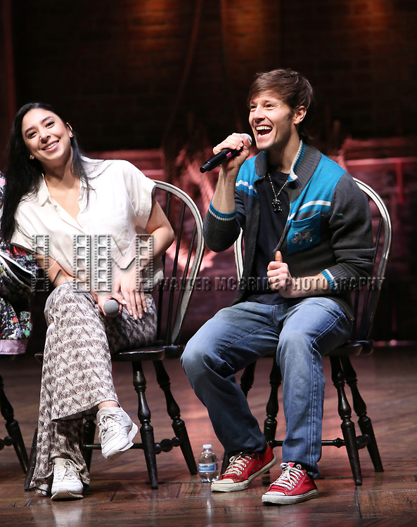 "Lauren Boyd and Thayne Jasperson during the Q & A before The Rockefeller Foundation and The Gilder Lehrman Institute of American History sponsored High School student #eduHAM matinee performance of ""Hamilton"" at the Richard Rodgers Theatre on 3/12/2020 in New York City."