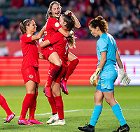 CARSON, CA - FEBRUARY 07: Jordyn Huitema #9 of Canada celebrates during a game between Canada and Costa Rica at Dignity Health Sports Park on February 07, 2020 in Carson, California.