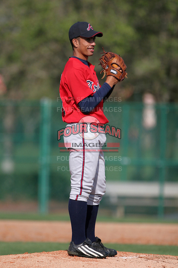 Atlanta Braves minor leaguer Jorge Acosta during Spring Training at Disney's Wide World of Sports on March 15, 2007 in Orlando, Florida.  (Mike Janes/Four Seam Images)