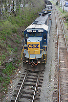 The CSX train riding through Charlottesville, VA.