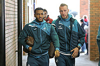 (L-R) Luciano Narsingh of Swansea City and Mike van der Hoorn of Swansea City arrive prior to the game during The Emirates FA Cup Fifth Round match between Sheffield Wednesday and Swansea City at Hillsborough, Sheffield, England, UK. Saturday 17 February 2018