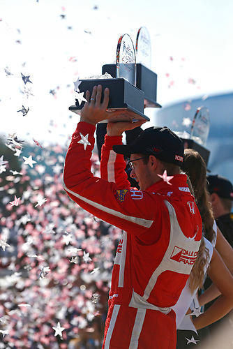 2017 Verizon IndyCar Series<br /> Toyota Grand Prix of Long Beach<br /> Streets of Long Beach, CA USA<br /> Sunday 9 April 2017<br /> Sebastien Bourdais celebrates on the podium<br /> World Copyright: Phillip Abbott/LAT Images<br /> ref: Digital Image lat_abbott_lbgp_0417_15040