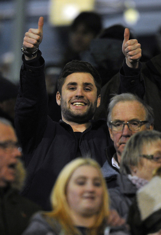 A fan in the crowd<br /> <br /> Photographer Dave Howarth/CameraSport<br /> <br /> Football - Johnstone's Paint Trophy Northern Area Quarter-Final - Oldham Athletic v Preston North End - Tuesday 25th November 2014 - SportsDirect.com Park - Oldham<br />  <br /> &copy; CameraSport - 43 Linden Ave. Countesthorpe. Leicester. England. LE8 5PG - Tel: +44 (0) 116 277 4147 - admin@camerasport.com - www.camerasport.com