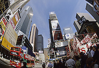 New York City,.   The frenetic Quality of the Times Square area is summed up in this fisheye view from 46th Street