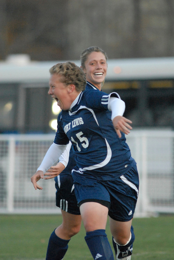 Fort Lewis College women soccer players celebrate a goal scored in the Regional Rocky Mountain Athletic Conference semi final match. Fort Lewis won the match and became the RMAC champions in 2007.