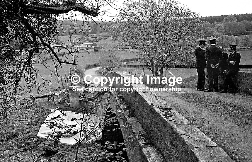 Party of Gardai, Rep of Ireland policemen, at the suspected scene, just south of the Border where the abducted British army officer, Captain Robert Nairac, was murdered  following his abduction from The Three Steps Inn near Forkhill in N Ireland. 147/77, 197705000147c<br /> <br /> Copyright Image from Victor Patterson, 54 Dorchester Park, Belfast, UK, BT9 6RJ<br /> <br /> t1: +44 28 9066 1296<br /> t2: +44 28 9002 2446<br /> m: +44 7802 353836<br /> <br /> e1: victorpatterson@me.com<br /> e2: victorpatterson@gmail.com<br /> <br /> www.victorpatterson.com<br /> <br /> IMPORTANT: Please see my Terms and Conditions of Use at www.victorpatterson.com